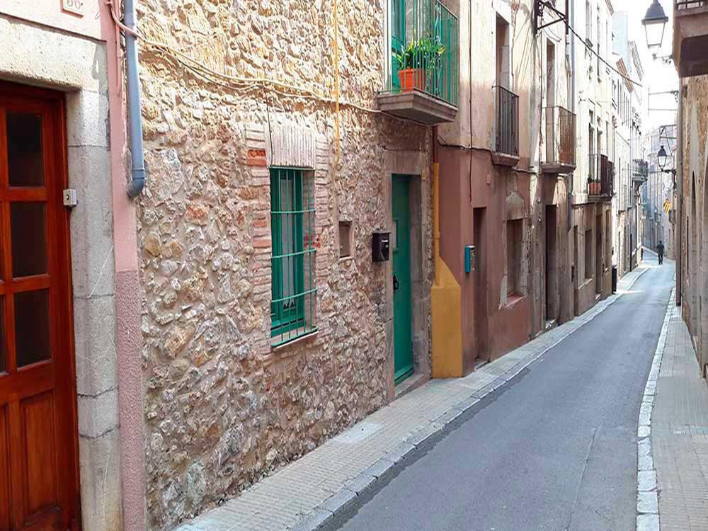 Restored stone house in the center of the village of Torroella de Montgrí (Costa Brava)